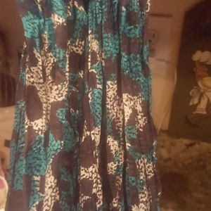Long teal animal print scarf